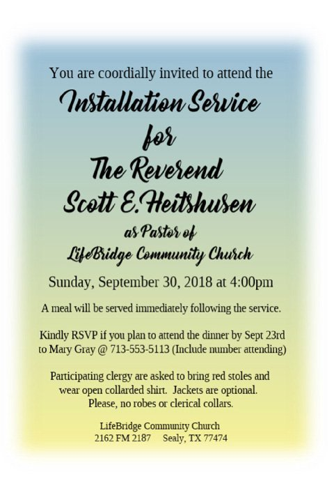 YOU'RE INVITED: Installation Service for Scott E. Heitshusen